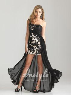 Unique Black Chiffon Sequin Applique One Shoulder Sleeveless High-low A-line Prom Dress