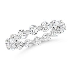 Floating Round Cubic Zirconia Eternity Wedding Band Ring in 14k White Gold Plated Over Sterling Silver