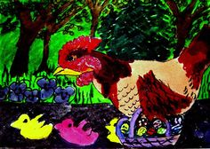 ACEO ATC Easter Hen Chicken marshmallo chick mice April Fool Original whimsical  #Whimsical