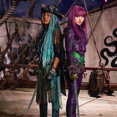 "Dove Cameron as Mal the daughter of Maleficent and China Anne MicClain as Uma the daughter of Ursula ! In Descendants 2 ""We Ride With The Tide"""