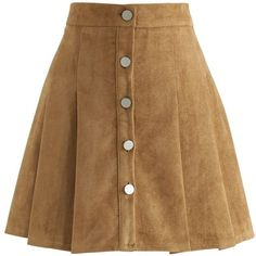 Chicwish Catch Your Eyes Faux Suede Pleated Skirt in Tan (€30) ❤ liked on Polyvore featuring skirts, bottoms, brown, tan skirt, tan faux suede skirt, pleated skirt, faux suede skirt and brown faux suede skirt