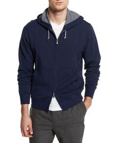 Full-Zip Knit Spa Hoodie, Ocean/Ardesia (Blue/Ardesia) - Brunello Cucinelli