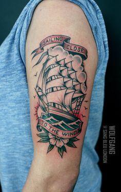 Ship done @sbldnttt thanks Quinn! For bookings: wolfgangtattooer@gmail.com #tattoo #tattoos #tradition #traditionaltattoo #traditionalship #ship #shiptattoo #sailortattoo #wolfgang #sangbleulondon #london #uk