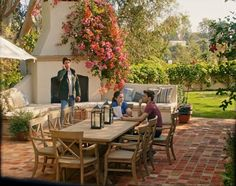 Dream home Patio - Inside Reese Witherspoon& House in the Movie Home Again . Backyard Fireplace, Backyard Patio, Outdoor Fireplaces, Outdoor Rooms, Outdoor Living, Outdoor Decor, Outdoor Patios, Outdoor Kitchens, Pergola Designs