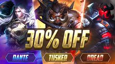 Dante, Tusker and Dread are now available in the Shop will be OFF for a limited time! Moba Legends, Mobile Game, Video Game, Games, Artwork, Shop, Plays, Work Of Art