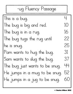 FREE word family fluency passage! Great for building confidence ...