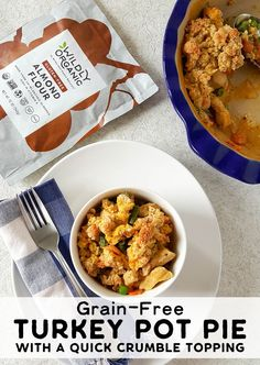 Just in case you can't handle one. more. turkey. sandwich... Save time and use up leftover holiday turkey with this easy, healthy, and nourishing Grain-Free Turkey Pot Pie with a quick crumble topping! No rolling pie dough or cutting biscuits!