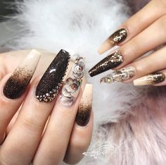 black and nude ombre coffin nails Bling Nails, Stiletto Nails, Coffin Nails, Acrylic Nails, Black Nail Designs, Nail Art Designs, Nail Desighns, Santa Nails, Finger Nail Art
