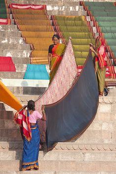 Drying saris India