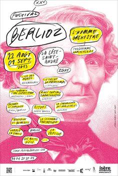 Affiche de Festival Berlioz in Love Design Art, Logo Design, Graphic Design, Typo Poster, Brand Manual, Design Graphique, Festival Posters, Visual Communication, Design Reference