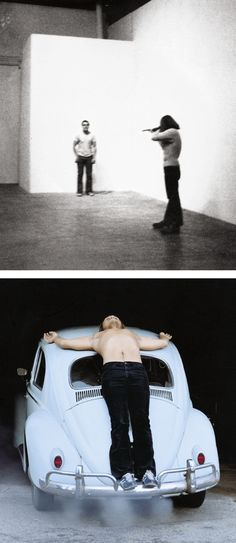 """Documentation of two of Burden's early pieces: """"Shoot,"""" top, from 1971, and """"Trans-fixed,"""" from 1974."""