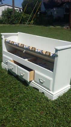 Beautiful storage bench made from an old dresser  $175. Contact us at Rustic Decor & More, located in Vincennes IN ~ 812-830-2820. Visit our Facebook page to see photo's of other items we currently have available.  https://m.facebook.com/Rusticdecorandmorehawkins