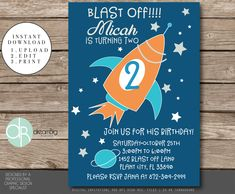 A personal favorite from my Etsy shop https://www.etsy.com/listing/560140370/space-invitation-rocket-ship-invitation