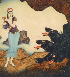 Edmond Dulac- Psyche with Cerberus, the three-headed hell-hound of Hades' underworld.