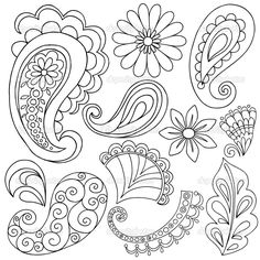 how to draw paisley Colouring Pages