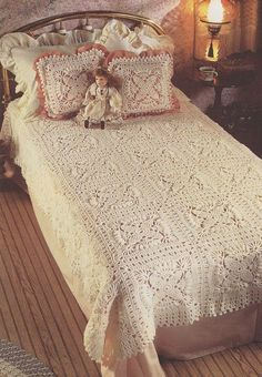 Bedspead Crochet Pattern  Matching Pillow  by PaperButtercup