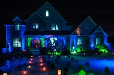AtmosFAN of the Week: The Haunted 'Nansion' We announced our Freak of the Week feature last week, and the submissions have been pouring in. Just as we suspected, you guys definitely don't disappoint! Halloween Prop, Halloween Projector, Halloween Outside, Halloween Trees, Outdoor Halloween, Halloween Party Decor, Holidays Halloween, Halloween Lighting, Halloween Graveyard
