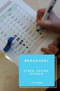Rekenspel: steen, papier, schaar • Juf Maike - leerkracht website en blog Mathematics, Spelling, Circuit, Classroom, Education, Website, Blog, Tips, Scrabble