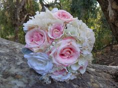 Bridal bouquet in cream roses and blush by AlwaysElegantBridal
