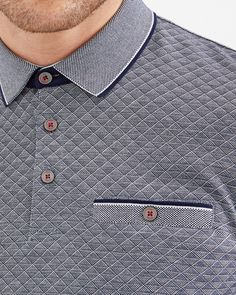 Oxford cotton jacquard polo - Navy | Tops & T-shirts | Ted Baker