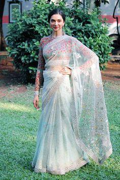 Glamorous Indian Model Deepika Padukone Hip Navel In White Saree