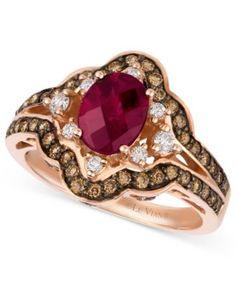 Le Vian® Raspberry Rhodolite® Garnet (1-3/8 ct. t.w.), Diamond and Chocolate Diamond (3/4 ct. t.w.) Oval Ring in 14k Rose Gold