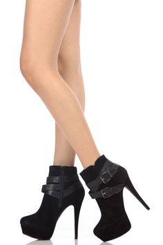 6e19624dcb4a Buy Black Faux Suede Buckle Strap Platform Booties with cheap price and  high quality from Cicihot.Our booties shoes look great with any look!