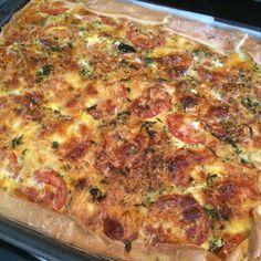 Nodig (voor een plaat van ca. 55x35 cm): - 16 plakjes voor hartige taart - 1 kilo kipfilet - 450 gram spinazie (mag meer) - 2 uien - 2 grote tenen knoflook - half pepertje - 8 kleine tomaten - 2 bollen mozzarella - 200 gram geraspte kaas - 14 eieren - 200 ml room - scheutje olie - Italiaanse kruiden - bakpapier