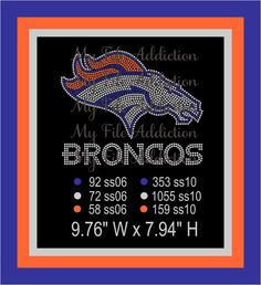 Denver Broncos Football Instant Download Rhinestone SVG EPS Design File by MyFileAddiction