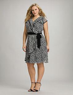 Plus Size Leaf Print Faux Wrap Dress