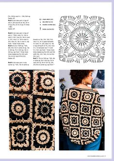 Irish lace, crochet, crochet patterns, clothing and decorations for the house, crocheted. Crochet Motif Patterns, Granny Square Crochet Pattern, Crochet Squares, Granny Squares, Crochet Stitches, Knitting Patterns, Crochet Jacket, Crochet Poncho, Irish Crochet