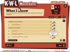 Here's an interactive KWL creator. Great tool for brainstorming as a class. Technology Websites, Teaching Technology, Educational Technology, Instructional Planning, Instructional Strategies, 21st Century Classroom, 21st Century Learning, Teaching Skills, Teaching Resources