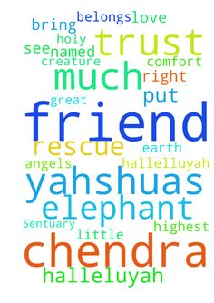prayers for CHENDRA elephant to be rescue and placed in Sentuary. -  I pray over this elephant friend in named Chendra YAHSHUAS name LORD JESUS CHRIST to rescue her . Father Bring Angels to her right now and comfort her amen and amen . I will put a praise report because I put my trust in you Father in the Highest Heaven amen Father you know how much i love your animals on earth they are our friends. . I trust you as i always do . Please let me see the great news about this little creature my…