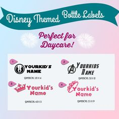 Disney Themed Daycare Labes  Bottle Labels  Boy by DigitallyOCD