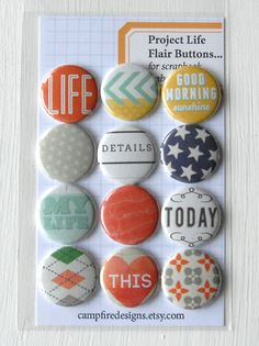 Project Life Flair Buttons or Badges Coral by CampfireDesigns, $8.50
