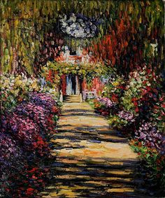 Garden Path at Giverny - Oil Painting Reproduction On Canvas