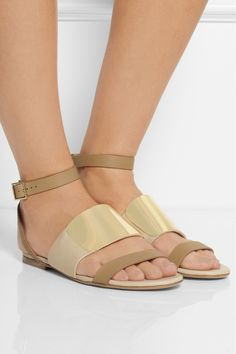 See by Chloé Embellished leather and canvas sandals NET-A-PORTER.COM