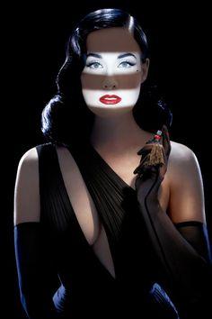Dita von Teese, Femme Totale images. The film noir blind lighting is a brilliant touch. Photo: Ali Mahdavi