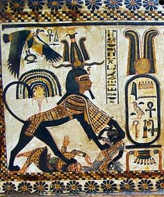 King Tutankhamon in the form of a Sphinx (wearing the Atef Crown with ram's horns) trampling over two of the traditional enemies of Egypt (an asiatic and a black african). On the top left, the Goddess Nekhbet in Her form of sacred vulture spreading. Ancient Egypt Art, Old Egypt, Ancient Aliens, Ancient History, Art History, King Tut Tomb, Modern Egypt, Egyptian Art, Ancient Civilizations
