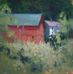 August Afternoon, Clear Creek Farm by Debra Joyce Dawson, Oil, 6 x 6 Dandelion Oil, Tower Of Power, Pomegranate Oil, Geranium Oil, Utrecht, Pond, Oil On Canvas, Ohio, Sunset