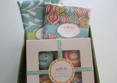 Personalized Baby Gift Box with Burp Cloths and Cupcake Washcloths. $45.00, via Etsy.