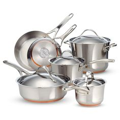 Anolon Nouvelle Stainless Steel 10 Piece Cookware Set | from hayneedle.com