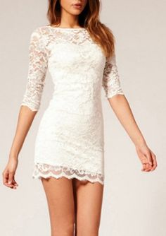 White Slim Hollow Lace Dress