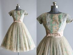 Vintage 1950s Dress / 50s Prom Dress / Muted by TuesdayRoseVintage