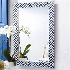 Add a fun and handsome touch to your home with this Chevron Indigo bone wall mirror. The contemporary style makes this piece perfect for any home. The handmade inlaid bone will make this piece a conversation starter in any room. Wall Mirrors Rectangular, Oversized Wall Mirrors, Big Wall Mirrors, Lighted Wall Mirror, Round Wall Mirror, Mirror Mirror, Oversized Wall Decor, Coastal Mirrors, Mirror Collage
