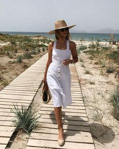 """If you have not already seen it here is a new video """"Look Chic For Less"""" White Dress Summer, Summer Wear, Spring Summer Fashion, Spring Outfits, White Sundress, Casual Summer, White Dress Casual, Summer Outfits For Vacation, Elegant Summer Outfits"""