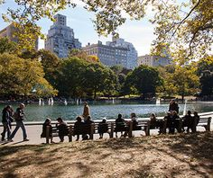 In Central Park, you can ride in one of the horse-drawn carriages, check out the modest-size zoo, climb to the top of 19th-century Belvedere Castle, or take a break from pounding the pavement to sprawl on the Great Lawn, gazing at the skyscrapers above.