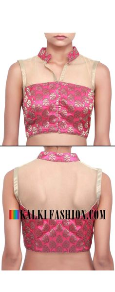 Buy online at: http://www.kalkifashion.com/rani-pink-blouse-featuring-with-chinese-collar-only-on-kalki.html Free shipping worldwide.