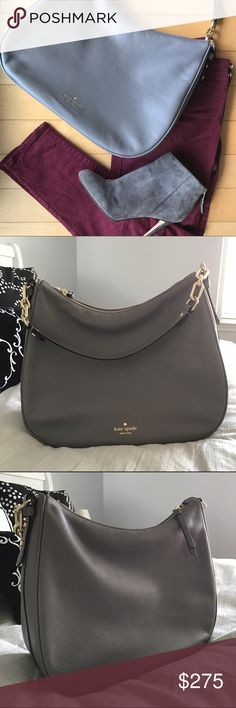 """• kate spade vivian • Kate Spade Mulberry Street Vivian shoulder bag in haregray color pebbled leather. Features gold tone hardware, top zip closure, 1 interior zip pocket and 2 slip pockets, top handle with chain detail and detachable cross-body strap. Top strap drop approx 10"""" and detachable strap drop adjustable to approx 22"""". Measures approximately 11.5"""" x 13.5"""" x 4.75"""". kate spade Bags Shoulder Bags"""