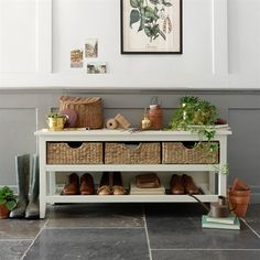 Farmhouse Painted Shoe Storage Console - Ivory - The Cotswold Company